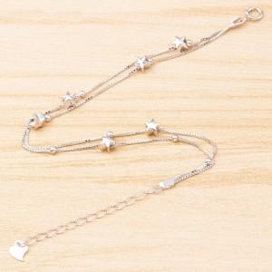 925 Sterling Silver Star Chain Female Bracelet Beads Charm Jewelry Women Bangle Bracelets