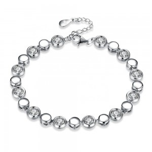 CZ Stone Beads 925 Sterling Silver Delicate Link Bracelet Jewelry