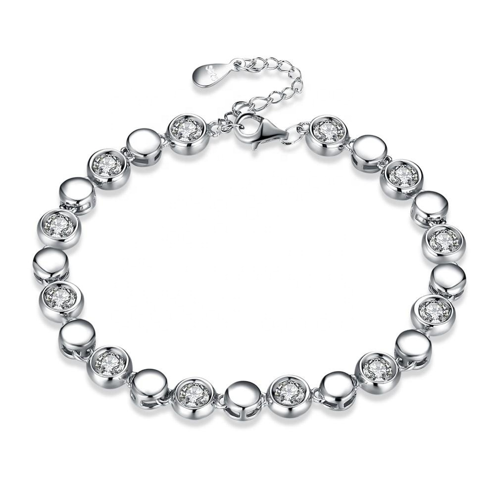 CZ Stone Beads 925 Sterling Silver Delicate Link Bracelet Jewelry Featured Image