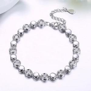 CZ Stone Beads 925 Sterling Silver Delicate Link Bracelet Jewelry