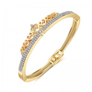 Latest Designs Gold Plated Crystal Rhinestone Heart Crown Bangle Bracelet For Women