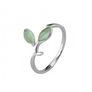 WENZHE Wholesale S925 Silver Hope Green Tree Leaves Open Finger Ring