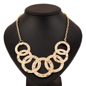 Novelty gold full circle geometry gold pendant necklace trending products