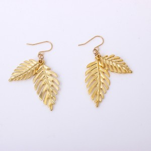 New Trendy Creative Gold Double Layered Leaves Alloy Drop Earring For Women