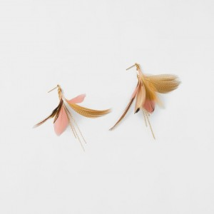 Gold and Pink Feather Earring Gold Delicate Earring Gold Dangle Feather Earring