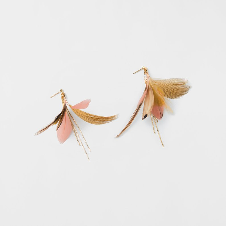 Gold and Pink Feather Earring Gold Delicate Earring Gold Dangle Feather Earring Featured Image