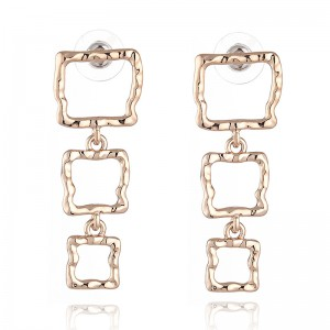 WENZHE Copper metal texture small pit pattern hollow geometric square earrings