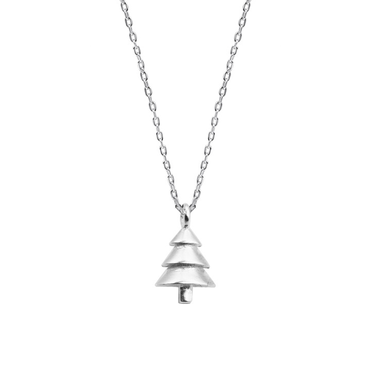 925 Sterling Silver Christmas Trees Pendant Clavicle Chain Necklace Featured Image