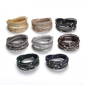 WENZHE Fashion Leather Magnetic Clasp Crystal Multi-layer Bracelet Wholesale