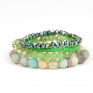 New natural green crystal stone bracelet healing stone bead multilayer bracelet