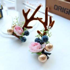 Fashion Design Handmade Antler Hairclips Christmas Flower Hairclip For Children