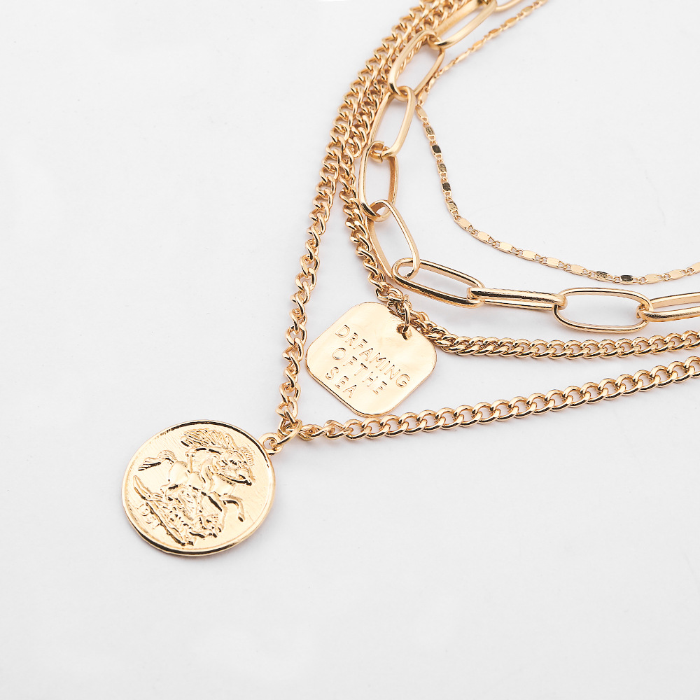 Alloy Multilayer Necklace European and American Coin Pendant Popular Coins Featured Image