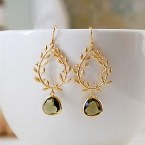 Fashion earring designs gold earring green gemstone single diamond earring