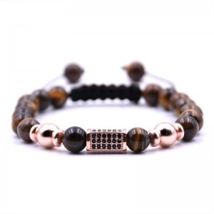 New Arrival Adjustable Tiger Eye Stone Beads Mixed Rose Gold Crystal Bead Bracelet