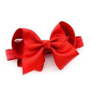 Wholesale Christmas Grosgrain Ribbon Bow Children Headband Elastic Hair Band Cute Kids Hair Accessories For Baby Girl