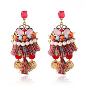 Exaggerated personality earrings popular boho earrings national style gemstone tassel earrings
