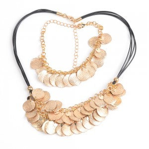 WENZHE Gold Pendant Necklace Bracelet Sets