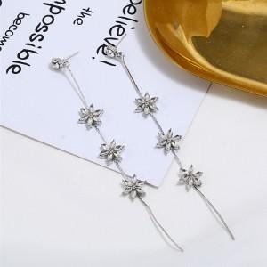 Fashion new earrings s925 silver flower tassel long earrings female