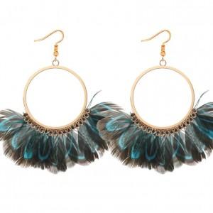 European and American temperament national wind feather earrings Bohemian retro personality fan shaped earrings