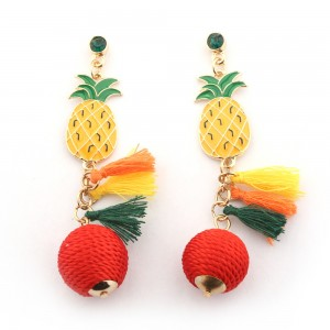 Fashion Jewelry For Women Enamel Pineapples Multicolor Tassels Thread Ball Drop Earrings