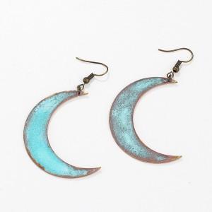 Product name Silver-Tone Mixed Patina Geometric Half-Moon Linear Drop Earrings