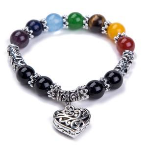 Religion Healing Balance Jewelry Natural Stone Beaded Bracelet Seven Chakra Yoga Reiki Heart Charm Bracelet