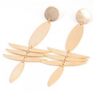 WENZHE Metal Irregular Geometric Hanging Earring