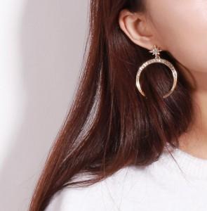 Inlay Crystal Stars Horns Dangle Drop Earrings Saudi Gold Earrings Design