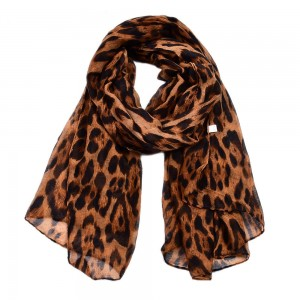 WENZHE Long Casual Animal Pattern Voile Material Leopard Print Shawl Scarf