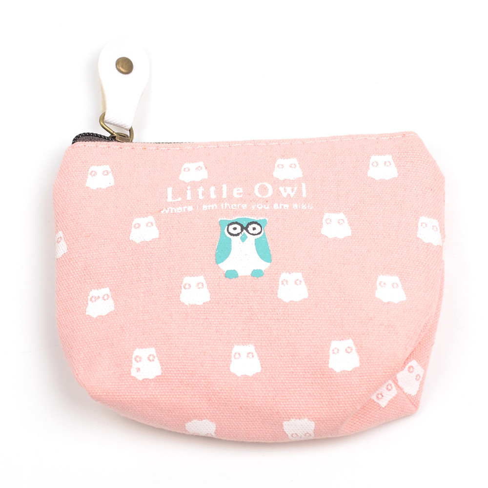 WENZHE Owl Wallet Canvas Key Bag Square Coin Purse Featured Image