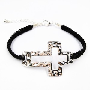Newest Hollow Silver Plated Cross Black Handmade Braided Cord Adjustable Bracelet For Men Women