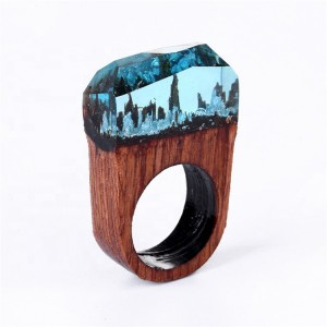 New retro jewelry wooden ring secret forest creative resin couple rings wholesale