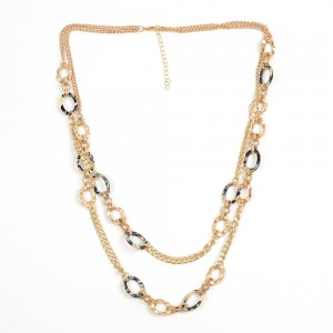 WENZHE Fashion Acetate Acrylic Multi-layer Necklaces Handmade Statement Gold Long Chain Necklace