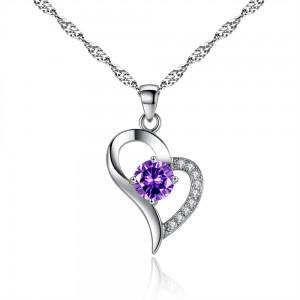Jewelry Hot sale Fashion latest design custom crystal silver pendant copper alloy zircon love cute heart necklace for women
