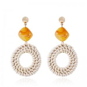 Korean Style Statement Handmade Jewelry Rattan Circle Resin Drop Earrings