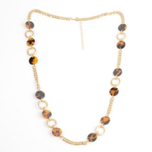 WENZHE Gold Amber Acrylic Circles Chain Necklace