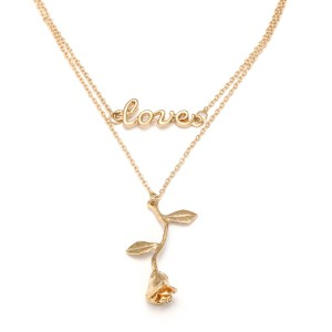 Fashion Newest Rose Flower Design Gold Choker Necklace As Valentine's Day Gift Wholesale