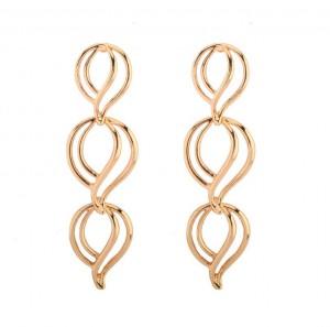 Saudi Gold Earrings Design Metal Alloy Hollow Long Flower Earrings