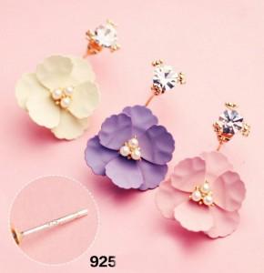 Latest Product European Style Crystal Pearl Multi Layer Flower Petal Custom Earring