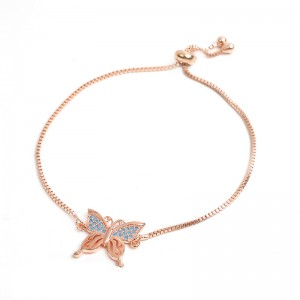 WENZHE New fashion copper zircon butterfly bracelet adjustable female bracelet