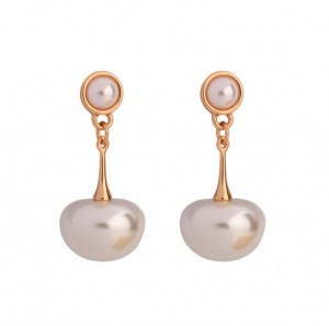 New promotion gold color pearl jewellery simple lady brand pearl earring