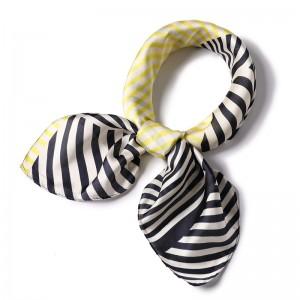 WENZHE Women Scarf Fashion Neckerchief Air Hostess Small Square Scarves Satin Silk Scarf Neck Tie
