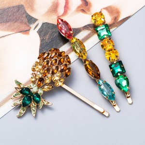 WENZHE European and American Style Colorful Rhinestone Crystal Pineapple Hairpin Set
