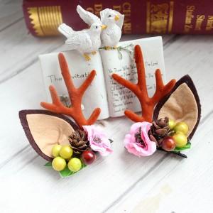 Fashion Design Handmade Antler Hairclips Christmas Deer Ears Hairclip For Children