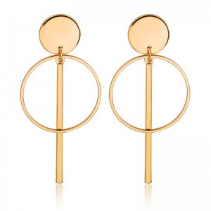 Fashion Earrings Designs Women Gold Tassel Hollow Round Circle Drop Earrings