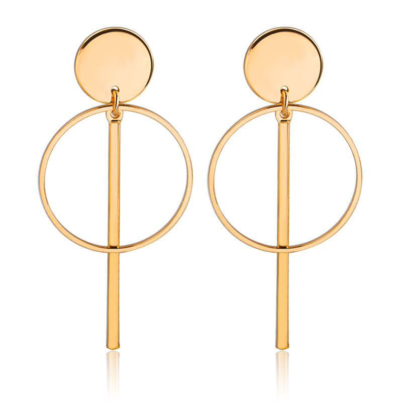 Fashion Earrings Designs Women Gold Tassel Hollow Round Circle Drop Earrings Featured Image