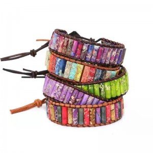 WENZHE Fashion boho colorful natural stone woven leather cord adjustable bracelet