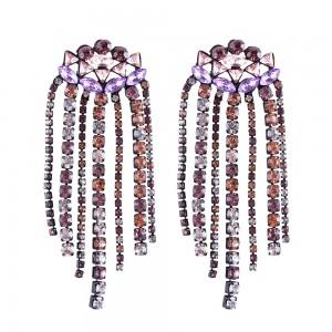 Wholesale Crystal Amethyst Rhinestone Dangle Tassel Earrings Long Drop Statement Earrings