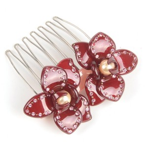 WENZHE Newest Design Flower Hair Comb Clip Fashion Rhinestone Pearl Flower Acrylic Hair Combs