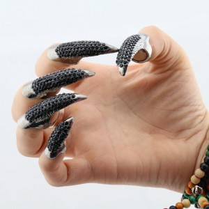 Accessories Men's Alloy Rhinestone Exaggerated Eagle Claw Nail Ring Set